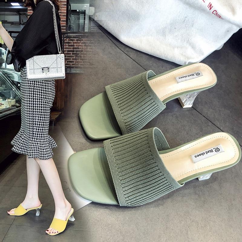 Women Knitting Half Slipper High Heel Half Single Coarse Shoes Elegant Lady Spring Fashion Slip On Slides Summer Beach Shoes