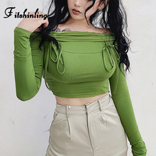 Fitshinling Off Shoulder Tops Gothic Harajuku Womens T-Shirts Bow Tie Green Long Sleeve Female T-Shirt Autumn Grunge Crop Top