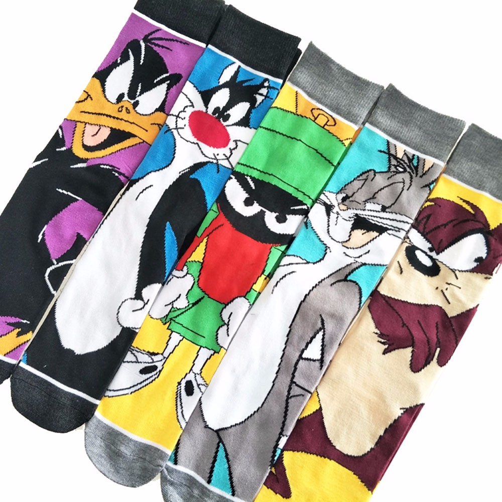 Cartoon Rabbit Sock Casual Hip Hop Creative Soft Comfortable Funny Novelty Black Yellow Men Cotton Hip Hop Novelty  Happy Gift S
