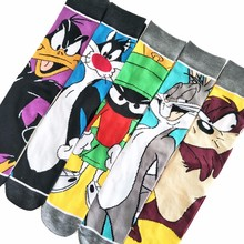 Cartoon Rabbit Sock Casual Hip Hop Creative Soft Comfortable Funny Novelty Black Yellow Men