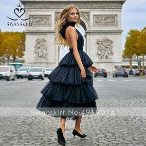 Image 4 - Swanskirt Бохо бальное платье свадебное платье 2020 светильник с открытой спиной Иллюзия Ruched тюль принцесса невесты по индивидуальному заказу Vestido de novia YP01