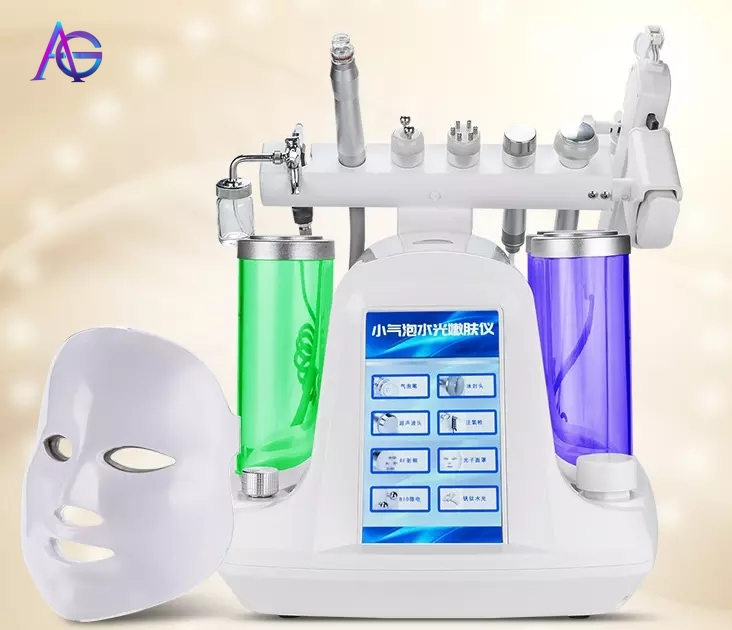 Professional 8 In One Hydra Oxygen Facial Deep Cleaning Skin Care Machine With Feedback