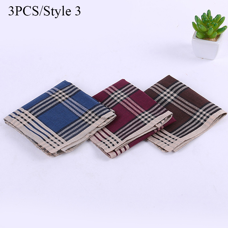 Pcs Men Handkerchiefs 100% Cotton With Stripe Hankies Gift Set Classic Plaid Handkerchief Pocket Hanky 40*40cm Random