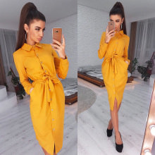 Women Vintage Front Button Sashes A-line Dress Long Sleeve Turn Down Collar Soli