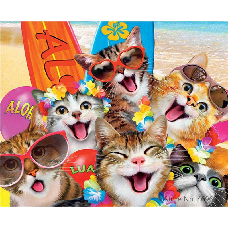 Painting By Numbers Frameworks Coloring By Numbers Home Decor Pictures Animal Cat Decorations RSB8353