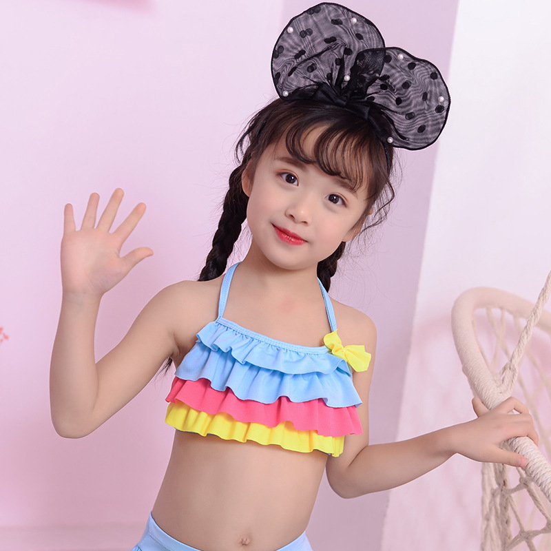 New Style Age Of 3-5 GIRL'S Swimsuit Korean-style Cute KID'S Swimwear Pleated Baby Two-piece Swimsuits Swimming Suit