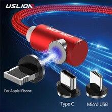 USLION 2 м Быстрый Магнитный кабель type C Micro usb для зарядки iPhone X, XR, 8, 7, samsung, S10, huawei, магнитный кабель для зарядки телефона