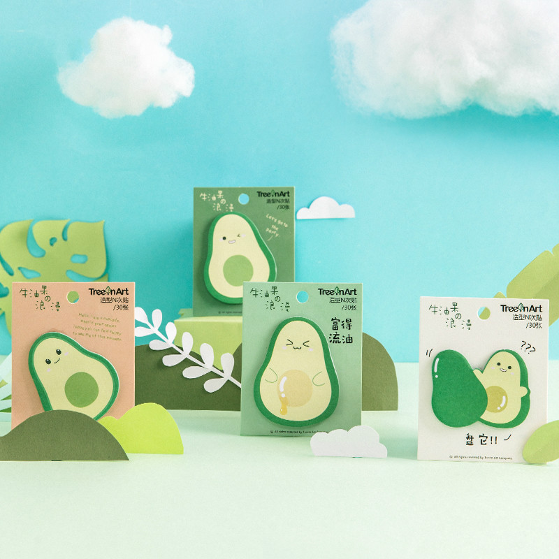 30 Sheet/pack Self-Adhesive N Times Memo Pad Avocado Shape Sticky Notes Bookmark Post It Label Sticker School Office Stationery