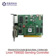 Linsn ts802d rgb cor cheia síncrono led envio cartão de controle suporte max 1.3 milhões led resolução da tela