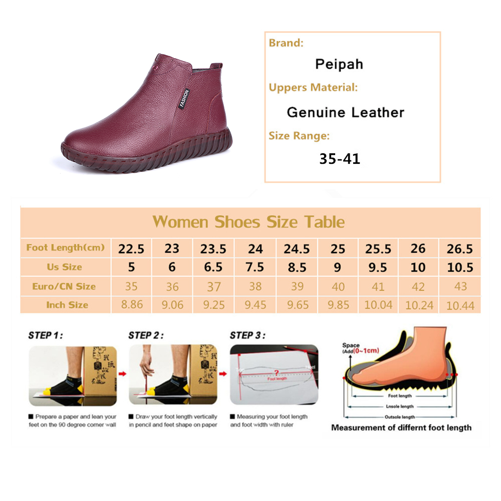 Image 5 - PEIPAH Vintage Handmade Genuine Leather Women Ankle Boots Casual Snow Boots Winter Ladies Flat Shoes Zip Rubber Botines Mujer-in Ankle Boots from Shoes