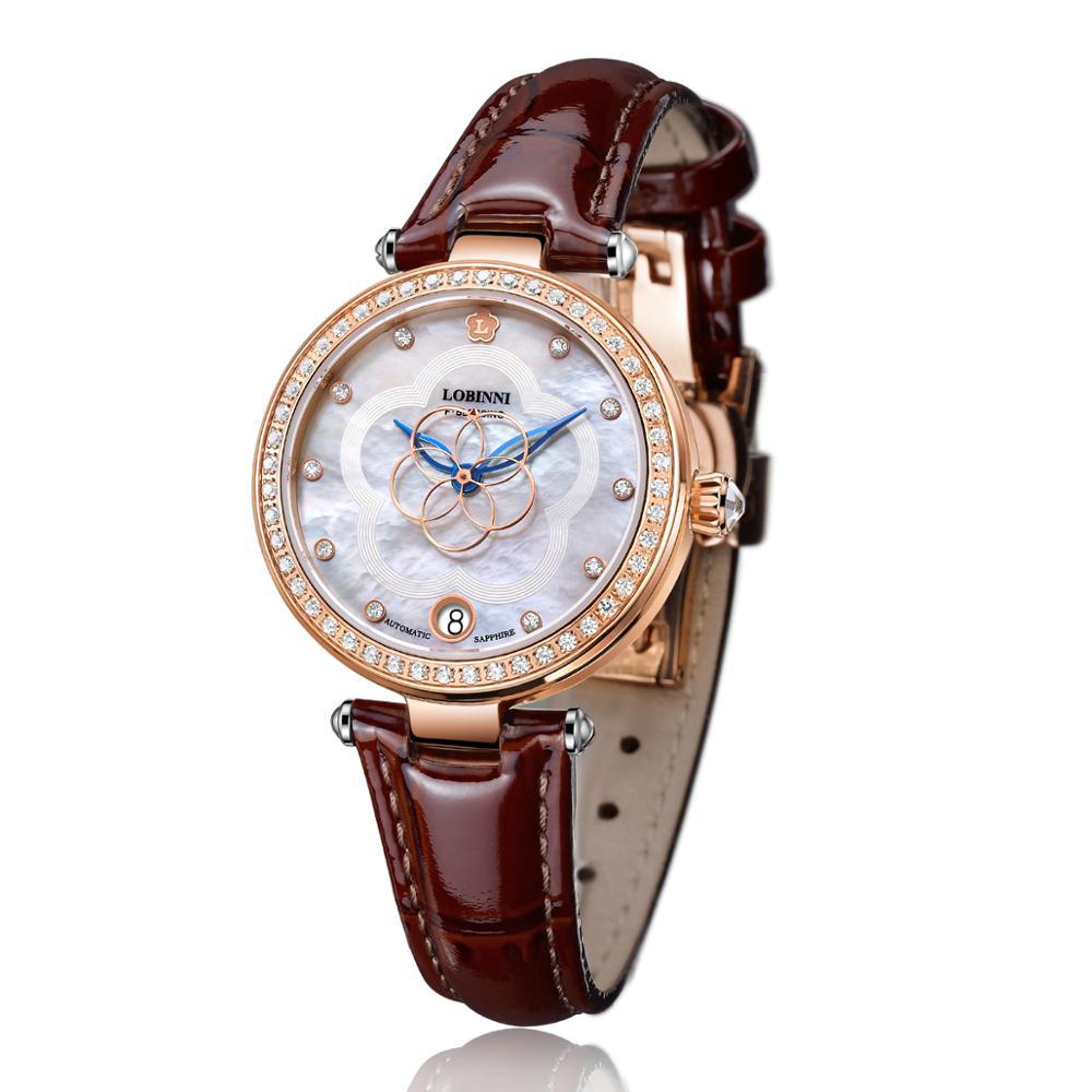 Suisse marque de luxe mode dames mécanique automatique auto-vent saphir montre femmes elegeant montres en cristal de concepteur