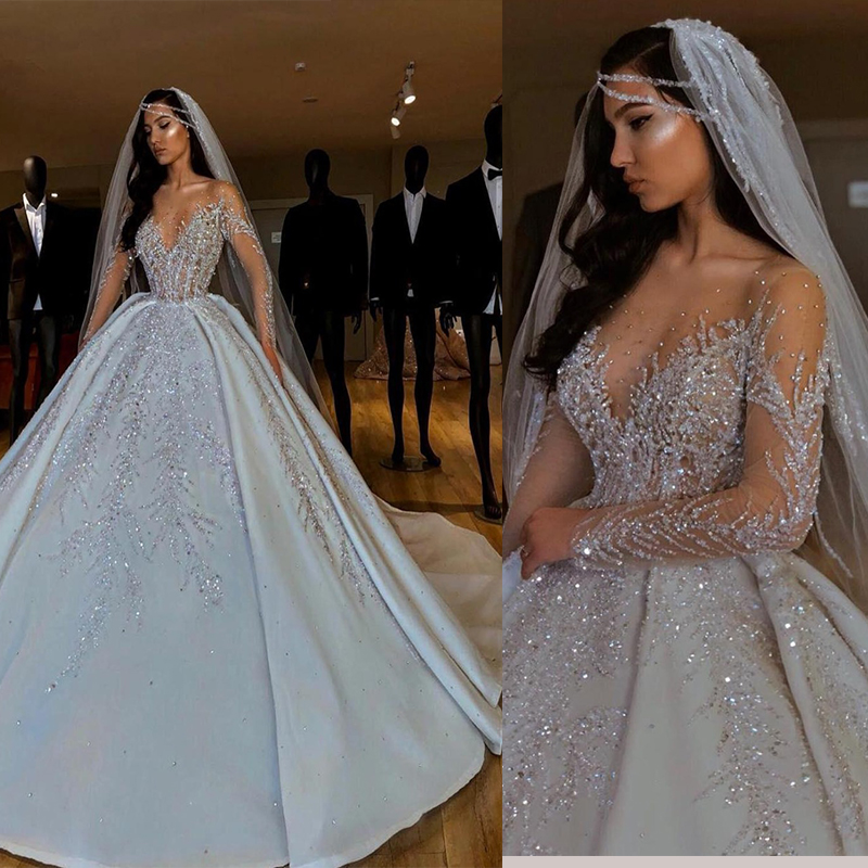 New Arrivals Luxurious 2020 African Wedding Dresses Sheer Neck Long Sleeves Bridal Dresses Beaded Crystal Satin Wedding Gowns