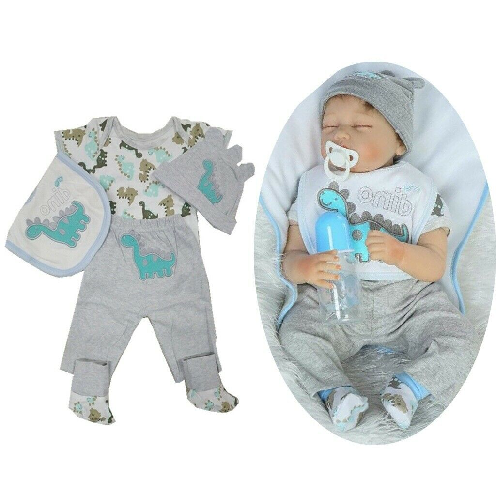 Gray Rompers Pants Hat Clothes For 22-23 Inch Reborn Doll Boy Girl Dress Up Doll Accessories Baby Doll Clothes American Girl