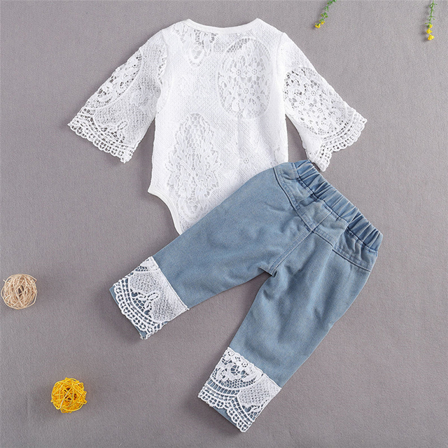 New Fashion 0-24M Baby Girls Fall Clothes Long Sleeve Lace Romper Suit Triangle Crotch Lace Top  Hole Long Jeans 2Pcs Outfit 6