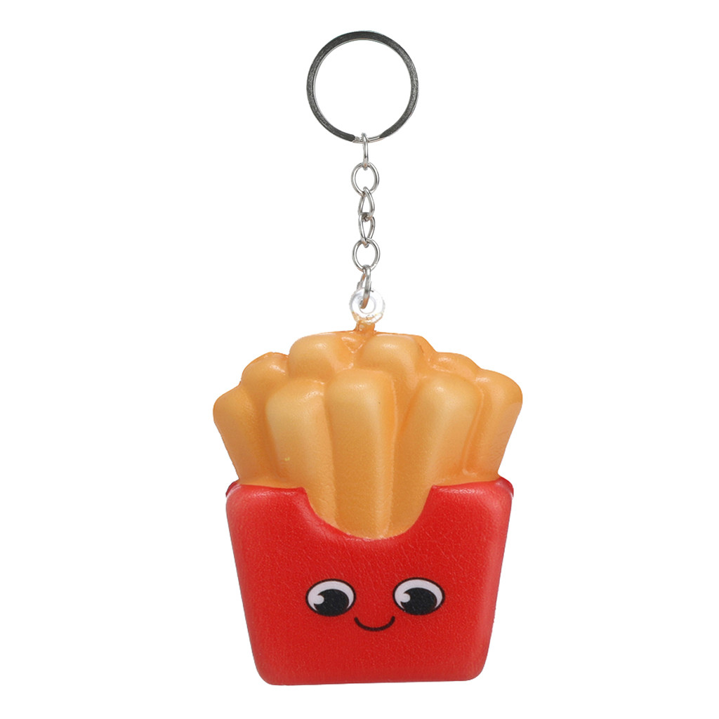Squishies Kawaii Cartoon French Fries Chips Slow Rising Cream Scented Keychain Stress Relief Toys Kids Toys Squishy Toys