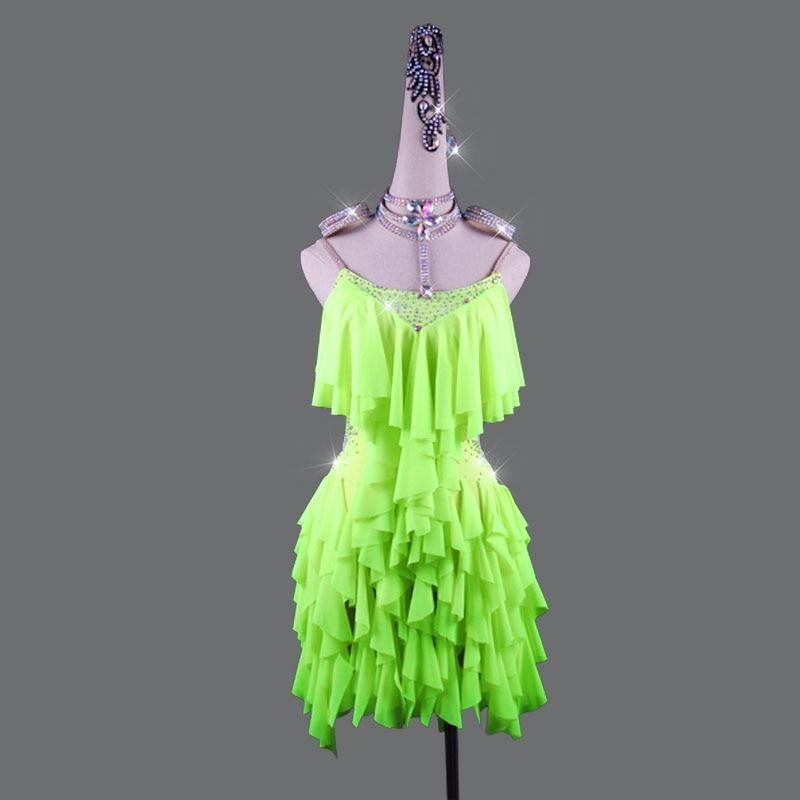 High Grage Latin Dance Dress Women Light green Dance Dress Rhinestone Party Singer Professional Competitive Latin Dresses