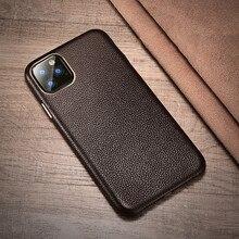 ICARER Funda de cuero auténtico para Apple iphone 11 Pro Max, funda de lujo con textura de lichi y botón de Metal