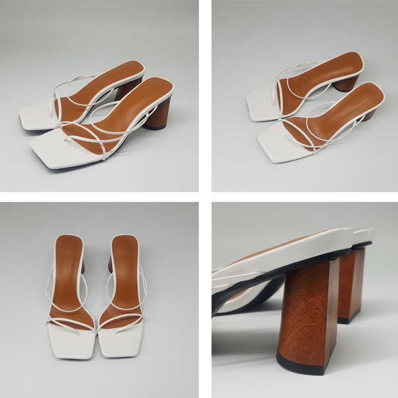 MONMOIRA الصلبة كعب سميك أنيقة السيدات أحذية واحدة حزام النعال الصنادل النساء منخفضة كعب خمر اصبع القدم مفتوحة النساء الصنادل SWC0643