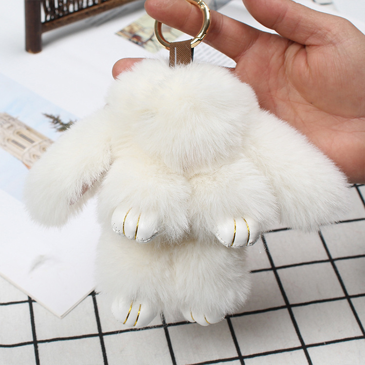 FXM cute mini rabbit character key bag mobile phone plush pendant plush toy phone keychain in Key Chains from Jewelry Accessories