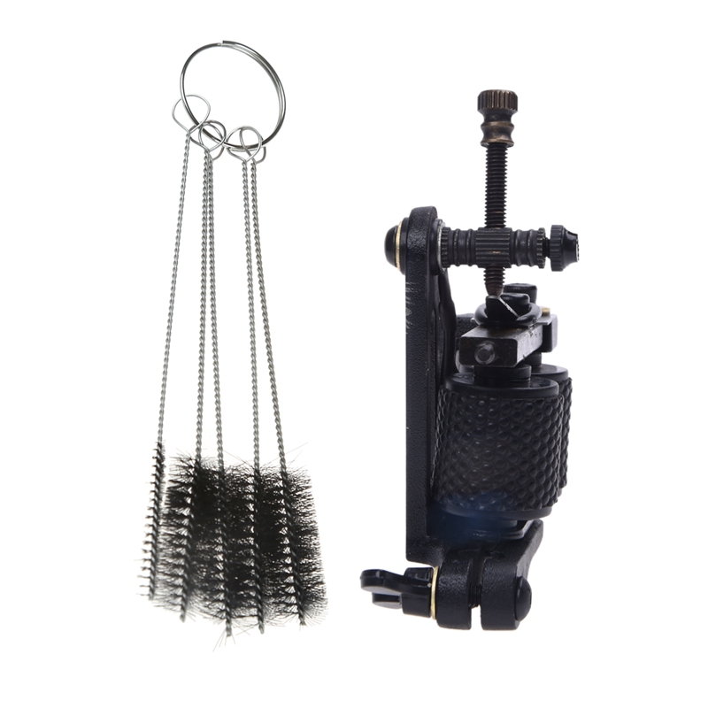 1pcs Tattoo Gun Machine Tattoo Liner Shader Black & 5Pcs Tattoo Cleaning Brush for Tube Tattoo Machine (Black)