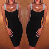 BacklakeGirls 2020 Sexy Spaghetti Strap Sleeveless Cocktail Dresses Party Black Bodycon Dress Robe De Cocktail