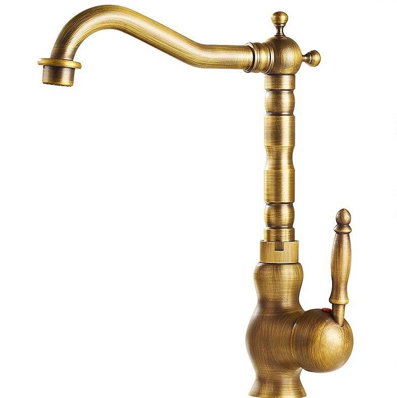 Retro Vintage Antique Brass Cozinha Wet Bar Banheiro Navio Torneira Da Pia Bica Giratória Torneira Misturadora Único Furo Um Punho mnf014