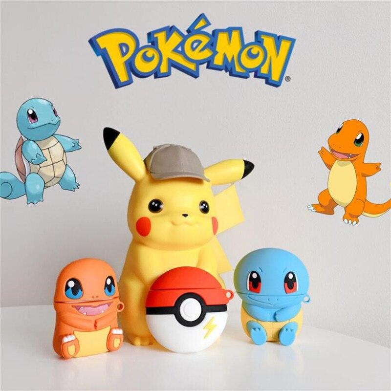 Japan Anime Pokemon Airpods Case Cosplay Badge Togepi Charmander Pikachu Cartoon Cute Bag Cover Bluetooth Headset Silica Gel