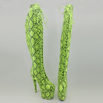Leecabe  Green Snake upper 20CM/8inches Pole dancing shoes High Heel platform Boots closed toe Pole Dance boots jialuowei 20cm heel snake print hologramlace up thigh high pole dance platform faishion boots