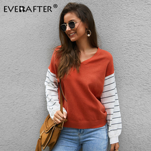 EVERAFTER Autumn Winter warm jumper patchwork knitted sweaters women V neck casual long sleeve tops loose basic pullovers 2019 цена