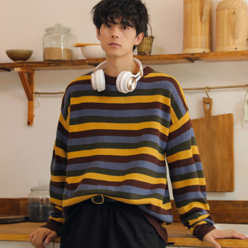 Mens Sweater Striped Pullovers Casual Male Sweater Streetwear Autumn Spring Outdoor Men Sweaters O-neck Oversize Winter Sweater