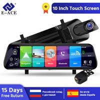 E-ACE D13 Auto Dvr 4G Android ADAS 10 Pollici Rear View Mirror FHD 1080P cruscotto della Macchina Fotografica cam Video registratore di navigazione GPS Dual Lens