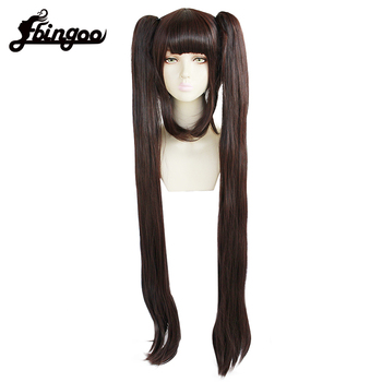 Ebingoo Sugar Sugar Rune Sangona Manier Double Ponytail Brown Long Straight Synthetic Cosplay Wig with bangs for Women ebingoo rabbit ears silver grey long double braid judy bunny synthetic cosplay wig for party rabbit ear props