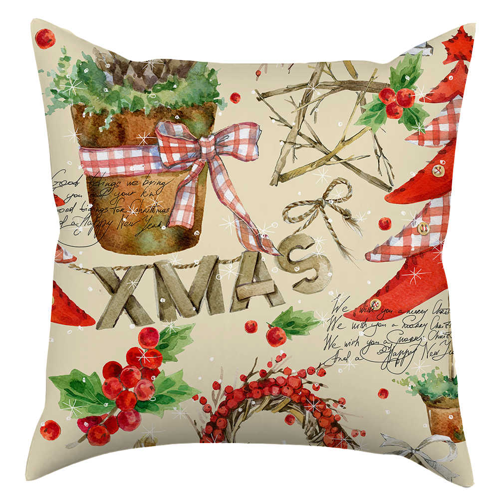 45x45 дома декоративные наволочки, Новое поступление на Новый год персик меховые наволочки, 4 Наволочки с рождественскими узорами S30