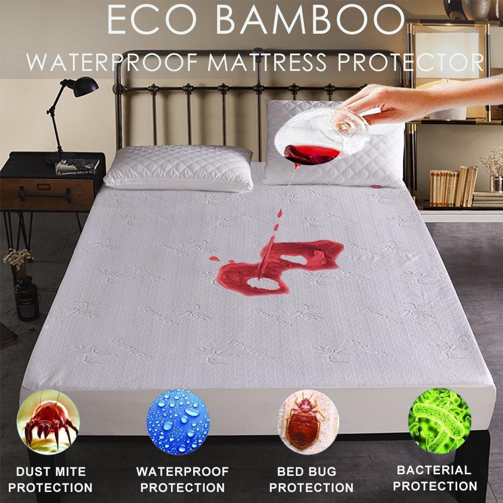 LFH Bamboo Knitting Jacquard Anti Bacterial Mattress Pad Fit For Mattress Waterproof Mattress Protector Soft Breathable Cover