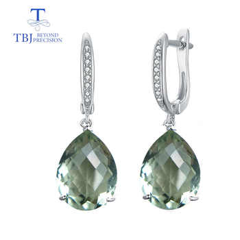 TBJ,big natural  green amethyst 14ct checkerboard cutting gemstone classic fine earring jewelry 925 sterling silver for women - DISCOUNT ITEM  10% OFF All Category