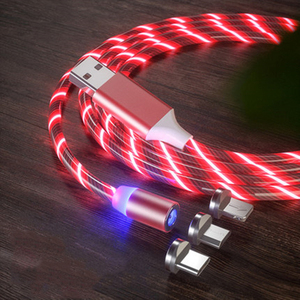 Magnetic LED Light Cable Fast Charging Magnet Micro USB Type C Cable LED Wire Cord Type-C Charger colorful for iphone