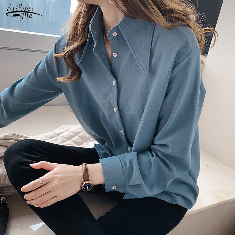 Blusas Mujer 2019 New Long Sleeve Solid Blouse Women Shirt Casual Loose Plus Size Cardigan Women Blouse Autumn Clothes 6859 50