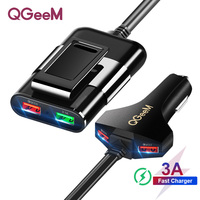QGEEM 4 USB Car Charger for iPhone Quick Charge 3.0 Car Portable Charger Hammer Front Back QC3.0 Phone Charging Fast Car Charger|Car Chargers|Cellphones & Telecommunications -