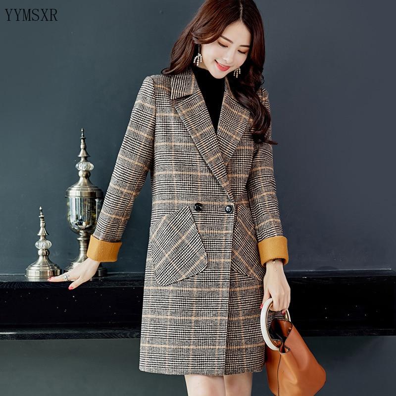 Long Women's Jacket Casual Blazer 2020 new autumn and winter fashion temperament woolen ladies suit Elegant feminine coat