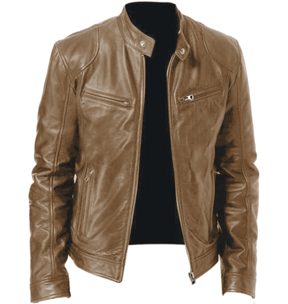Large Size 3XL-5XL PU Jacket For Men Loose Casual Khaki Faux Leather Coat Outwear Stand Collar Motorcycle Jacket With Pockets