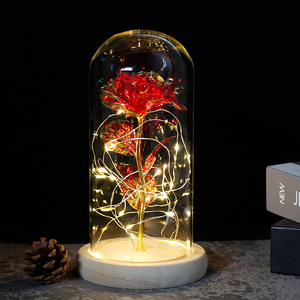 Image 4 - 2019 Beauty and the Beast Red Rose in a Glass Dome on a Wooden Base for Valentines Gifts
