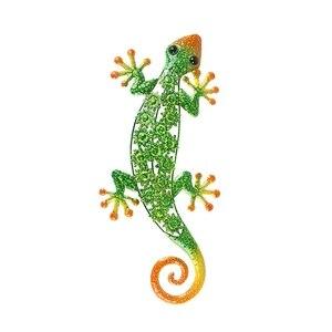 Image 1 - Décoration murale en métal Gecko pour Statues danimaux en plein air de jardin ou Sculptures décoratives de mur à la maison