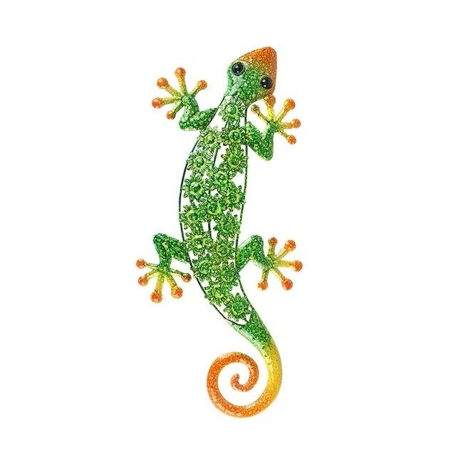 Décoration murale en métal Gecko pour Statues danimaux en plein air de jardin ou Sculptures décoratives de mur à la maison