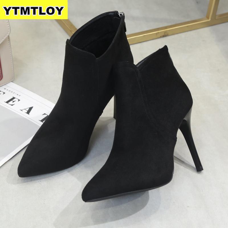Новинка; женские ботинки на высоком каблуке; большие модные женские ботинки на высоком каблуке; ботильоны для молодых девушек; 10 см; зимняя о...