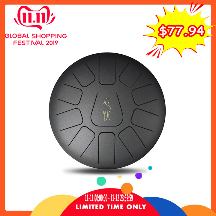 12 Inch Mini 11 Tone Steel Tongue Professional Percussion Drum Handpan Instrument With Drum For Music Therapists
