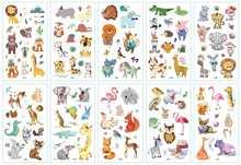 Faux tatouage temporaire motif animaux de la forêt, 10 pièces, dessin animé, Lion, mignon, autocollant, imperméable, pour les pieds et les mains, cerf, pour enfants