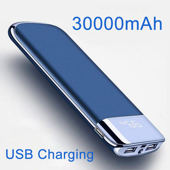 Power Bank 30000mAh 2 USB LCD Powerbank Portable External Battery Mobile Phone Universal Charger for Xiaomi MI for iphone 8