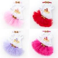 Conjunto de vestido para niña de 1 año, vestido de fiesta de cumpleaños para recién nacido, trajes de bautizo para niña de 3 uds.