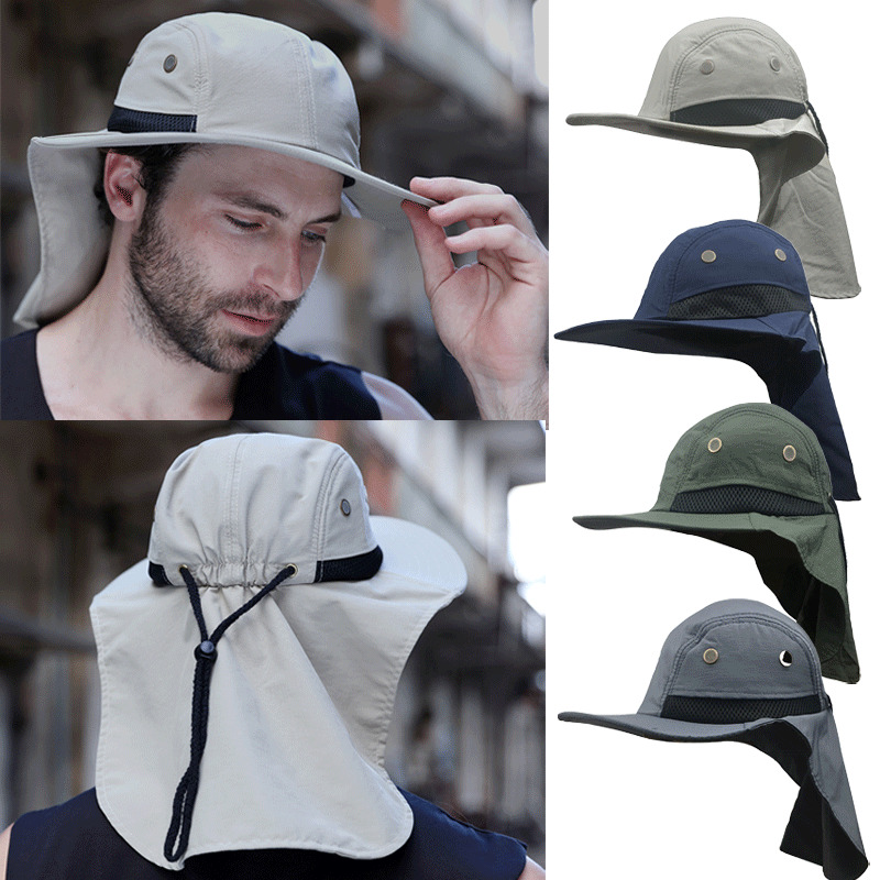 Mens Legionnaire Cap Neck Sun UV Protection Women's Summer Fishing Camping Sunscreen Hats