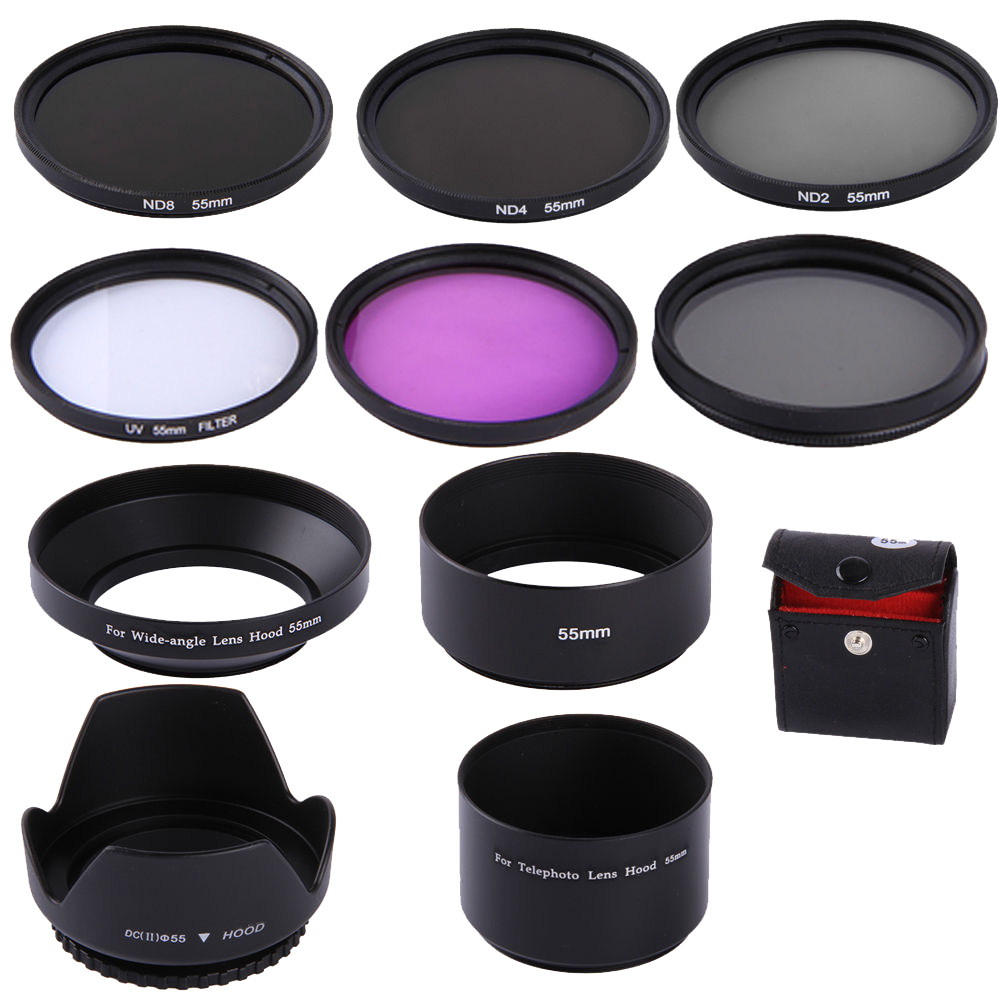 <font><b>55mm</b></font> CPL UV FLD ND2 ND4 ND8 Lens Filters Hood set For Canon EOS M M2 <font><b>M3</b></font> image